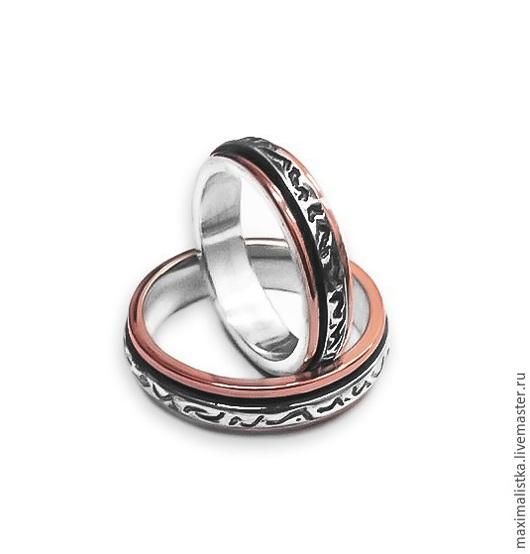 """Свадебные украшения ручной работы. Ярмарка Мастеров - ручная работа. Купить Обручальные кольца """"Во имя Любви"""" золото, серебро. Размер 16 и 19. Handmade."""