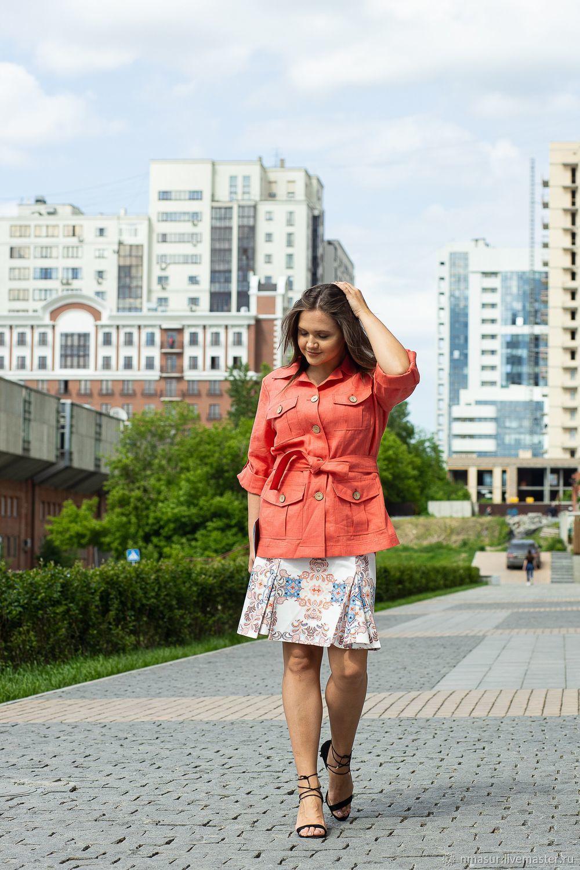 Жакет сафари лен Коралловый, Жакеты, Новосибирск, Фото №1