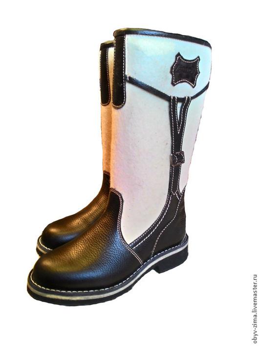 Обувь ручной работы. Ярмарка Мастеров - ручная работа. Купить Сапожки войлочные черные. Handmade. Белый, войлок, кожа натуральная