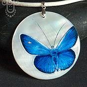 """Украшения ручной работы. Ярмарка Мастеров - ручная работа Кулон """"Синяя бабочка счастья"""" - роспись на камне. Handmade."""