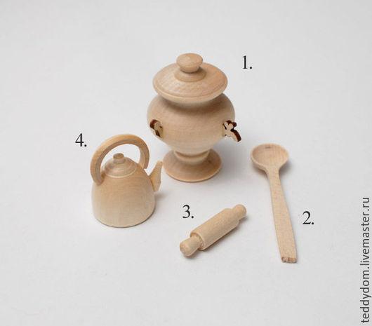Куклы и игрушки ручной работы. Ярмарка Мастеров - ручная работа. Купить Деревянные кухонные аксессуары для мишек. Handmade. Бежевый, дерево