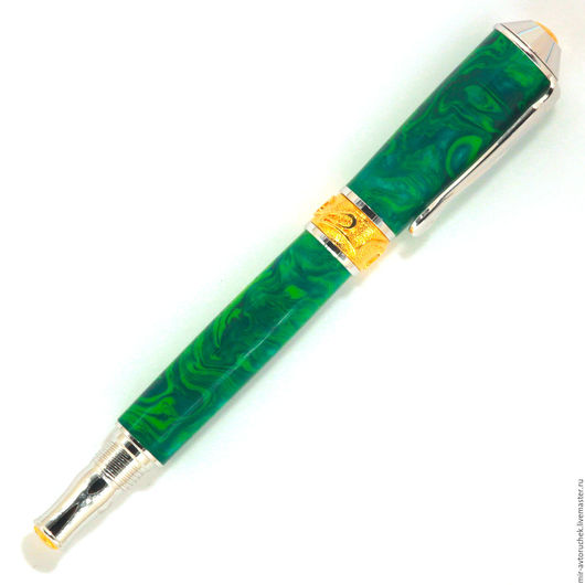 """Карандаши, ручки ручной работы. Ярмарка Мастеров - ручная работа. Купить Авторучка """"Nouveau"""" изумруд роллер. Handmade. Письменная ручка"""