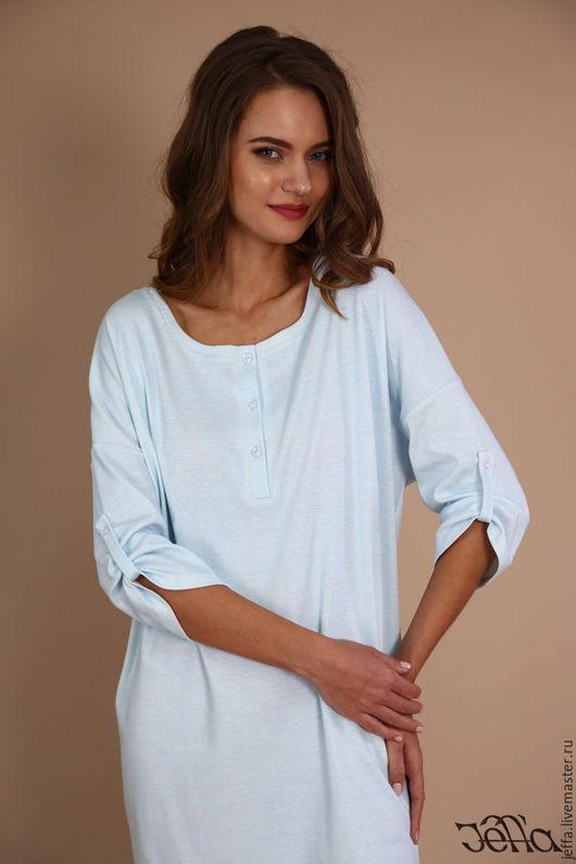 Белье ручной работы. Ярмарка Мастеров - ручная работа. Купить Рубашка для сна Авеню голубой арт. С 0019. Handmade.