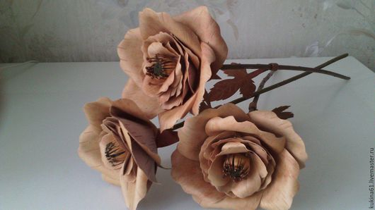 Искусственные растения ручной работы. Ярмарка Мастеров - ручная работа. Купить роза махровая. Handmade. Бежевый, подарок на любой случай