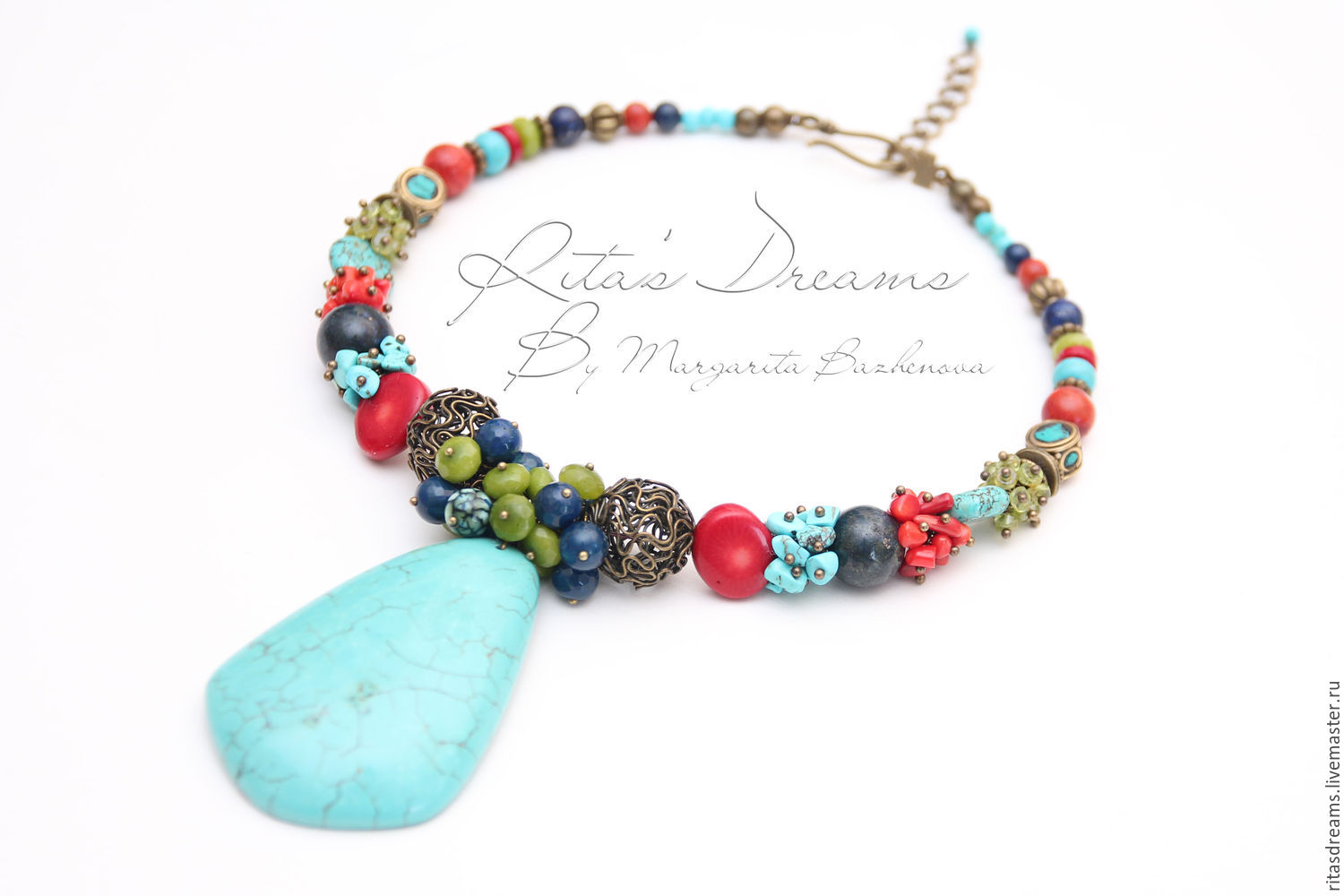 Necklace bright cheerful colors of natural stones with large turquoise pendant conjures up thoughts about the hottest time of year - summer with its variety of colors and flowers.