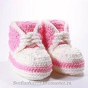 Работы для детей, ручной работы. Ярмарка Мастеров - ручная работа Пинетки вязаные,  пинетки розовые, для новорожденных, Кедики № 77. Handmade.