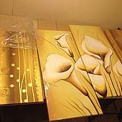 """Картины и панно ручной работы. Ярмарка Мастеров - ручная работа Модульная картина """"калы и золото"""". Handmade."""