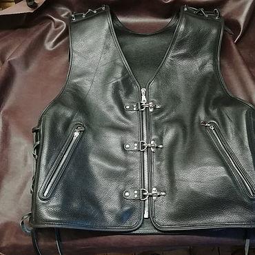 Clothing handmade. Livemaster - original item Classic motorcycle vest .... Handmade.