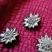 Материалы для творчества handmade. Livemaster - original item Buttons with Czech crystals. Flower. Handmade.