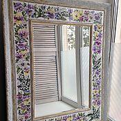 Для дома и интерьера handmade. Livemaster - original item Mirror Painted ceramic lilies and Pansies. Handmade.