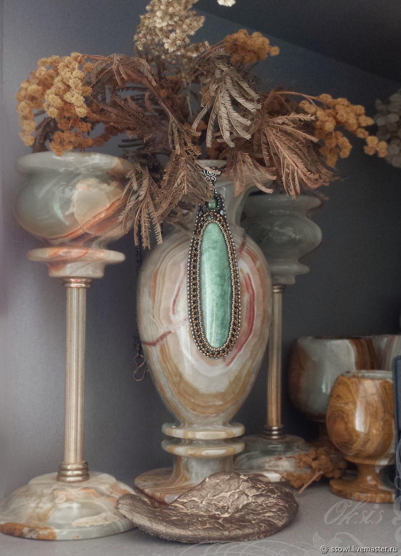 Pendant with iridescent jade, green tourmaline (cat's eye), Pendant, Bryansk,  Фото №1