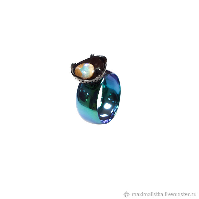 Enlightenment ring with opal in silver on titanium, Rings, Moscow,  Фото №1