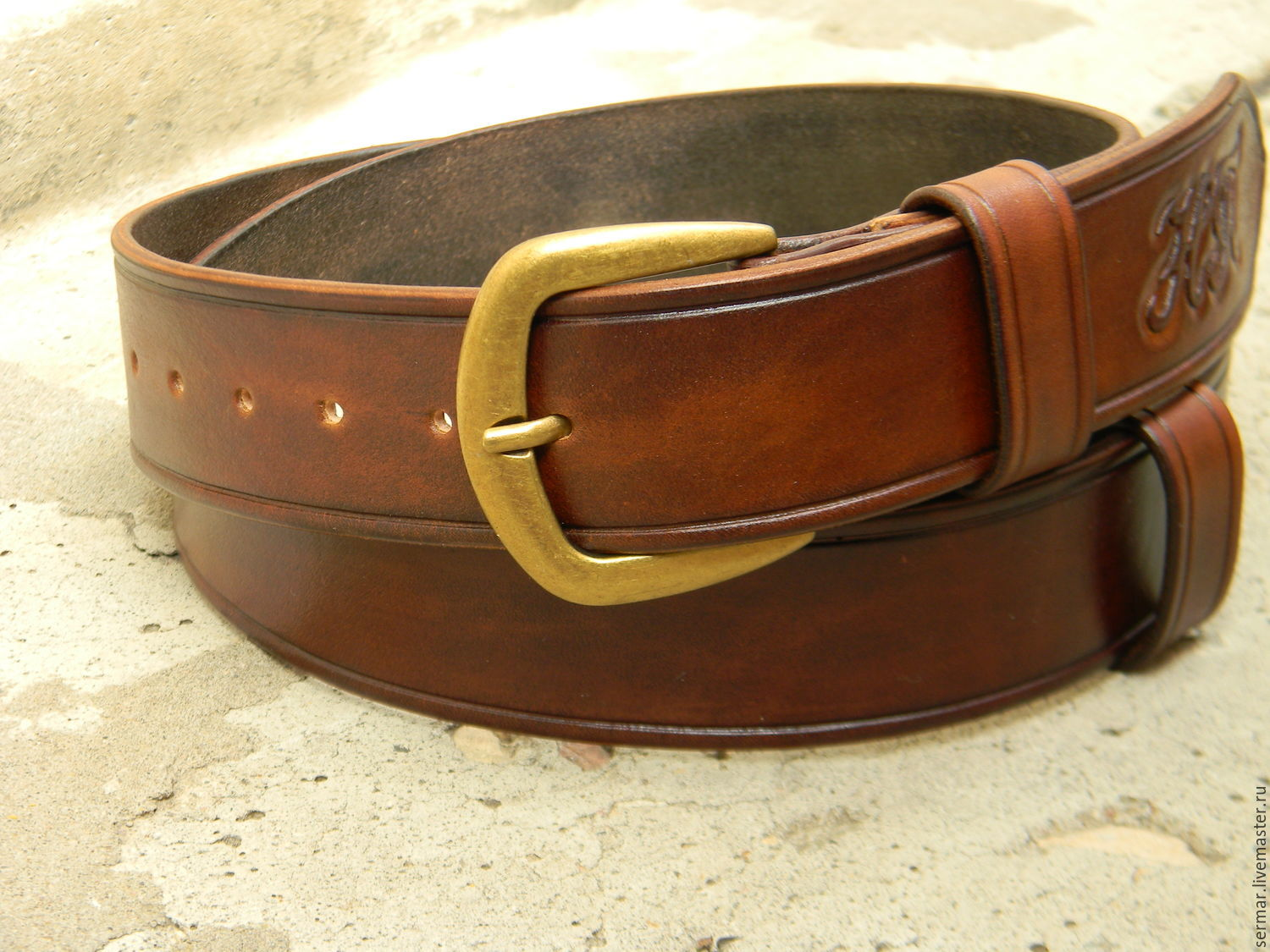 Men's belt,leather,handmade,for jeans, Straps, Kineshma,  Фото №1