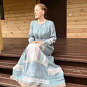 Одежда handmade. Livemaster - original item Linen dress, oberezhnoe with embroidery