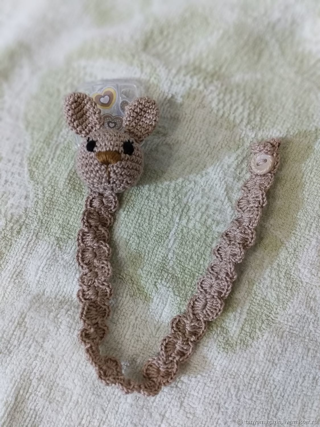 Holder for pacifiers (nipples) knitted. Bunny holder, Stuffed Toys, Sarapul,  Фото №1