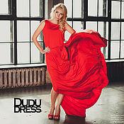 Одежда ручной работы. Ярмарка Мастеров - ручная работа Красное платье в пол качели на спине. Handmade.