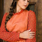 Одежда handmade. Livemaster - original item Terracotta linen dress with lining. Handmade.