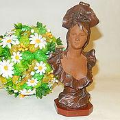 Антиквариат. Старинный бюст дамы, Венская бронза скульптура Модерн.