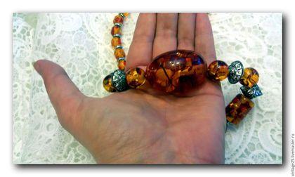 Винтажные украшения. Ярмарка Мастеров - ручная работа. Купить Янтарные бусы (Большой янтарь). Handmade. Комбинированный, Колье янтарь
