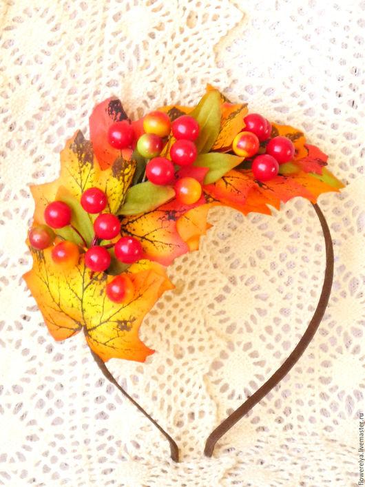Диадемы, обручи ручной работы. Ярмарка Мастеров - ручная работа. Купить Ободок для волос Осенний листопад. Handmade. Оранжевый, купить
