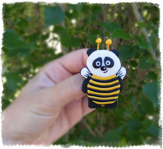 """Броши ручной работы. Ярмарка Мастеров - ручная работа. Купить Брошь """"Мишка в костюме пчелы"""". Handmade. Комбинированный, детское украшение"""