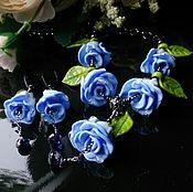 """Украшения ручной работы. Ярмарка Мастеров - ручная работа Комплект """" Голубые Розы - 1 """", Лэмпворк,шпинель, александрит. Handmade."""