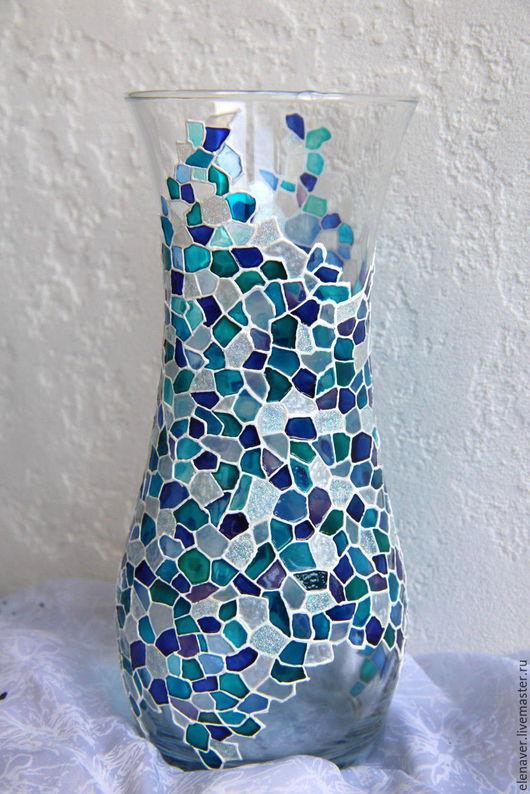 ваза для цветов, ваза в подарок, стеклянная ваза, голубая, витражная роспись, мозаика