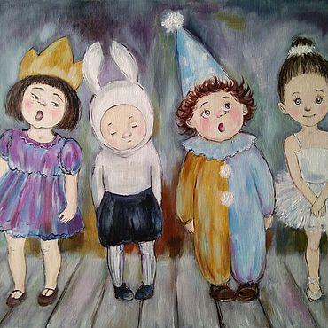 Картины и панно ручной работы. Ярмарка Мастеров - ручная работа Картина маслом с детьми Весёлый утренник. Handmade.
