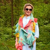 Аксессуары handmade. Livemaster - original item Bright felted scarf with a flounce Happiness is, an airy silk scarf. Handmade.