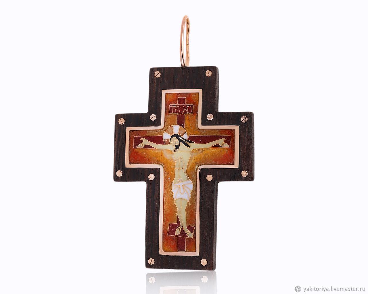 Cross made of black wood with enamel German Kabirski, Cross, Moscow,  Фото №1
