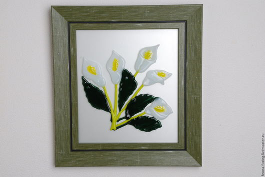 """Картины цветов ручной работы. Ярмарка Мастеров - ручная работа. Купить Картина """" Белые каллы"""". Handmade. Комбинированный, цветы"""