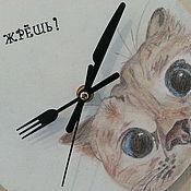 """Для дома и интерьера ручной работы. Ярмарка Мастеров - ручная работа Часы настенные """"Голодный кот"""". Handmade."""