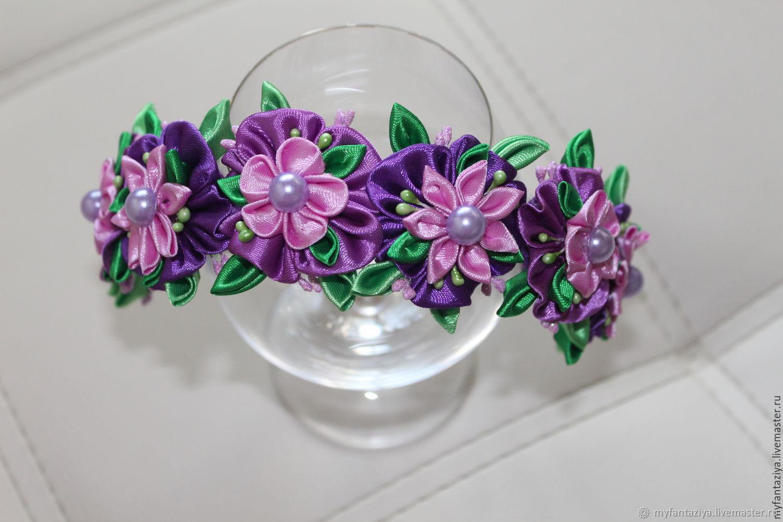 Цветок канзаши на ободке купить омск, цветов