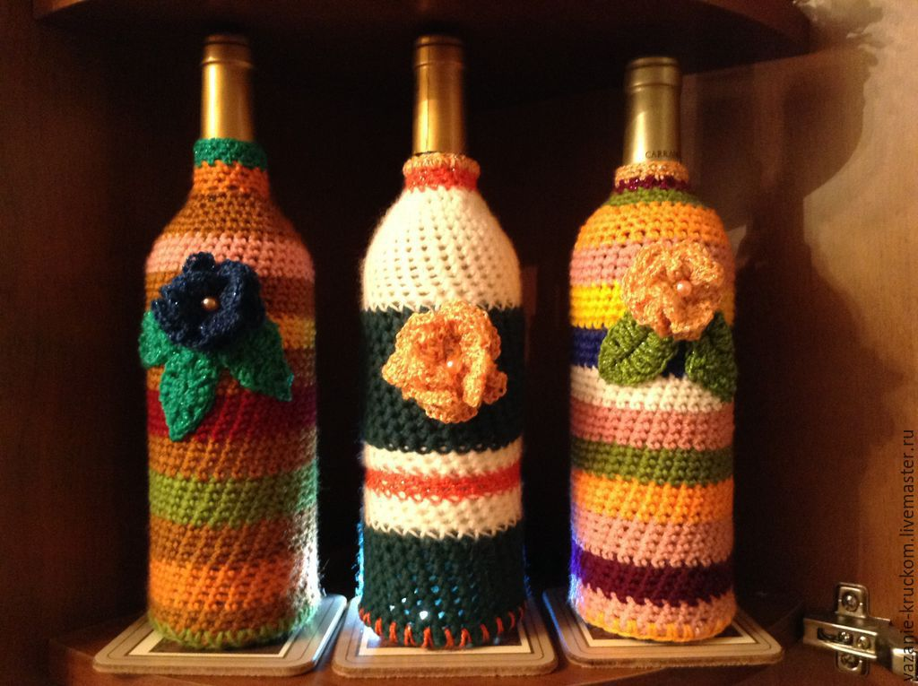 Чехол на бутылку связать крючком