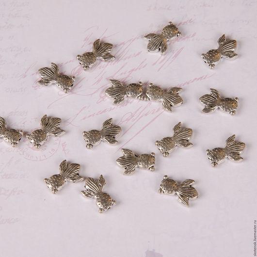 """Для украшений ручной работы. Ярмарка Мастеров - ручная работа. Купить Бусинка металлическая """"Золотая рыбка"""" 1,1х1,5см (серебро) 205001. Handmade."""