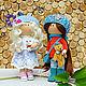 Лариса с подружкой .Интерьерная текстильная кукла тыквоголовка . Авторская ручная работа