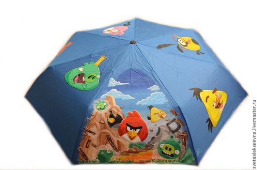 """Зонты ручной работы. Ярмарка Мастеров - ручная работа. Купить Зонт с ручной росписью """"Angry Birds"""". Handmade. Синий, птички"""