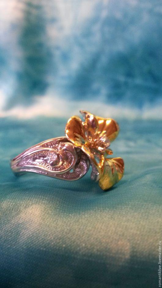 """Кольца ручной работы. Ярмарка Мастеров - ручная работа. Купить Кольцо из серебра с позолотой """"Цветок"""". Handmade. Серебряный, кольцо с цветком"""