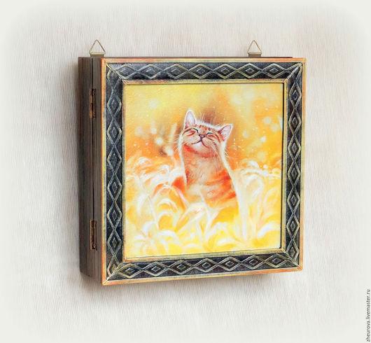 """Прихожая ручной работы. Ярмарка Мастеров - ручная работа. Купить Ключница с дверкой """"Солнечный котенок"""". Handmade. Желтый, котенок"""