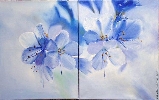 Картины цветов ручной работы. Ярмарка Мастеров - ручная работа. Купить Модульная картина маслом на холсте Цветы весной. Handmade.