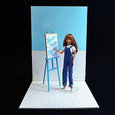 Куклы и игрушки ручной работы. Ярмарка Мастеров - ручная работа Румбокс для кукол 1:6 (Барби, Блайз, Монстер Хай и пр.) на одну стену. Handmade.