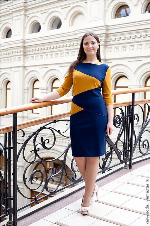 Платья ручной работы. Ярмарка Мастеров - ручная работа. Купить Платье 2013-6. Handmade. Тёмно-синий, платье в офис