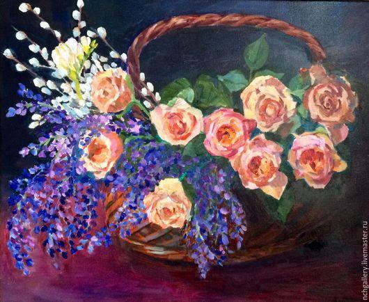 Картины цветов ручной работы. Ярмарка Мастеров - ручная работа. Купить «Розы». картина маслом. Натюрморт. Handmade. Розы