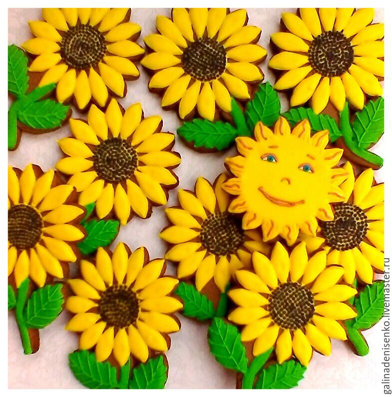 Gingerbread Sunflowers.Gingerbread Birthday, Gingerbread Cookies Set, Rostov-on-Don,  Фото №1