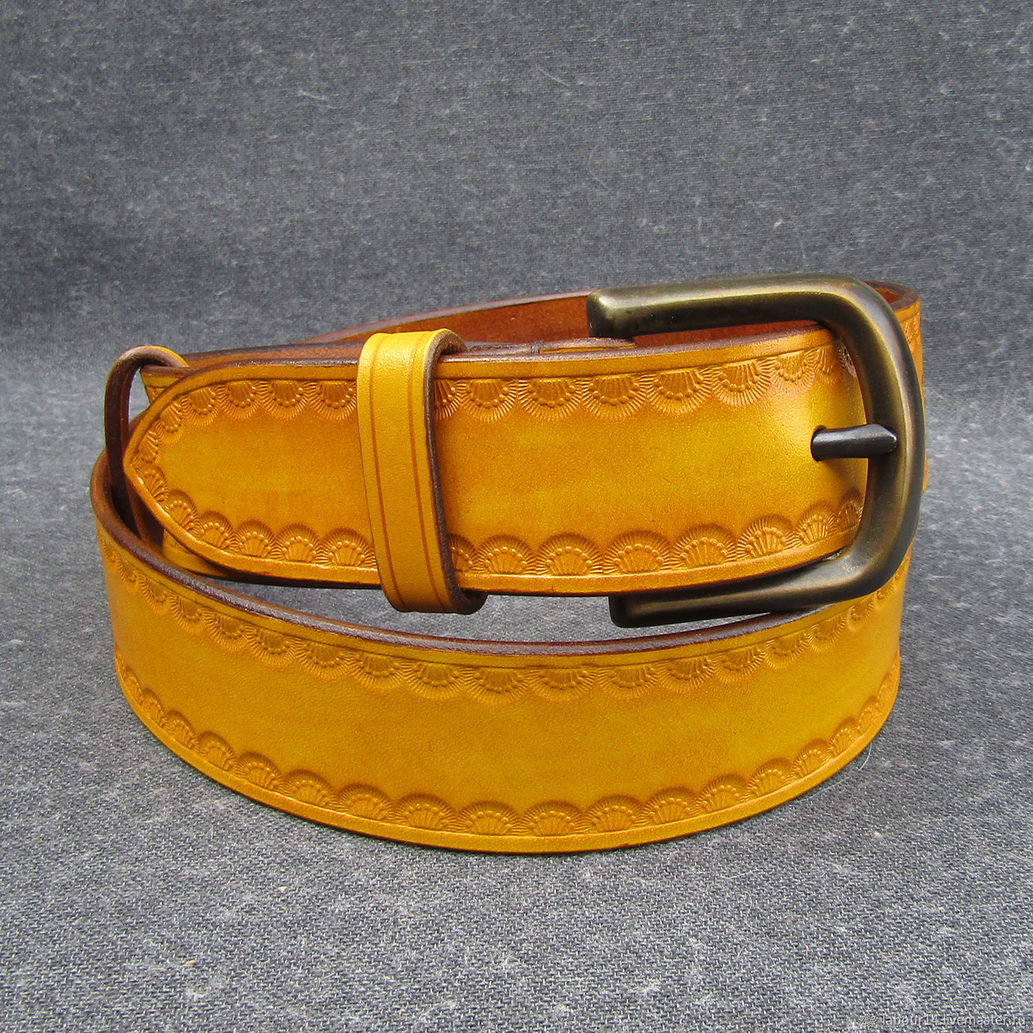Leather belt with embossed mod.Flower crown, melon, Straps, Sevsk,  Фото №1
