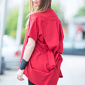 Одежда handmade. Livemaster - original item Red blouse with long sleeves and interesting back - TU0514PLV. Handmade.
