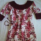 Одежда ручной работы. Ярмарка Мастеров - ручная работа Льняное платье с вязаной кокеткой. Handmade.