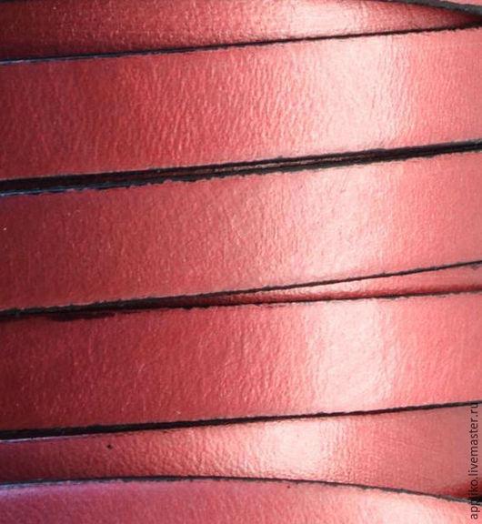 Для украшений ручной работы. Ярмарка Мастеров - ручная работа. Купить КОЖАНЫЙ ШНУР  10х2 мм.БРУСНИЧНО-РОЗОВЫЙ. Handmade.