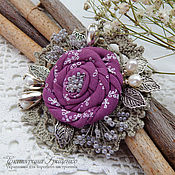 Украшения handmade. Livemaster - original item Knitted brooch Ash rose. Brooch boho. Brooch textile.. Handmade.