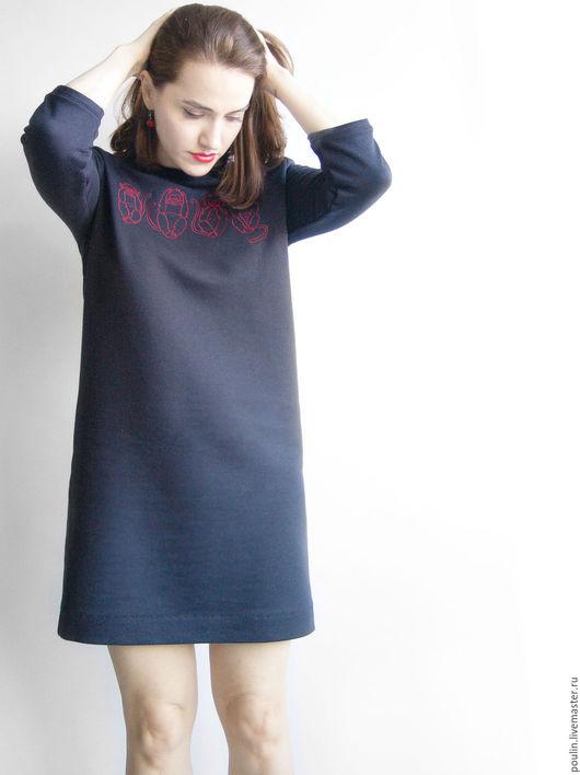 Платья ручной работы. Ярмарка Мастеров - ручная работа. Купить Платье-толстовка прямого силуета с вышивкой. Handmade. Хлопок